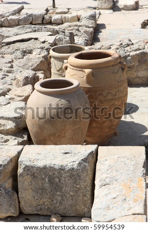 Giant clay jars from the Palace of Knossos. It is the largest Bronze Age archaeological site on Crete.