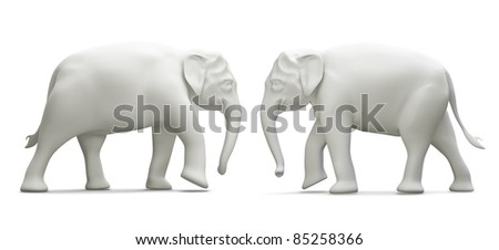 giant couple elephant thailand  model 3D side view, isolated on white background