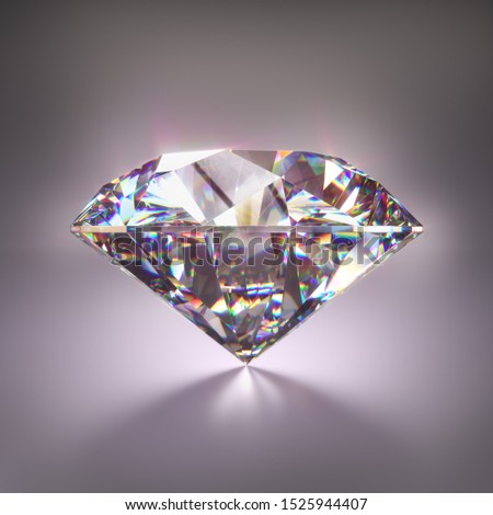 Giant diamond gem with clipping mask. 3D illustration with clipping path included.