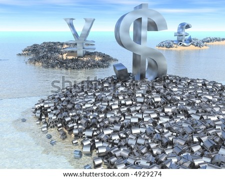 Giant dollar, yen and pound symbols sit on their land masses surrounded by a mass of smaller currency symbols.