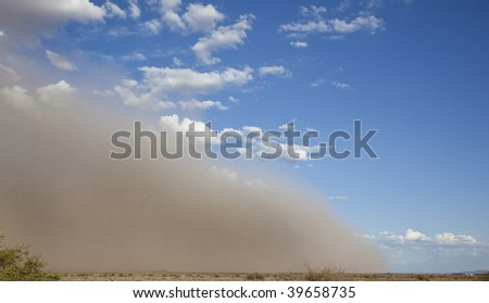Giant dust storm (also called a haboob) rolls across the desert near Phoenix Arizona.