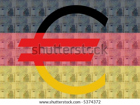 Giant euro sign with 20 euro notes and German flag
