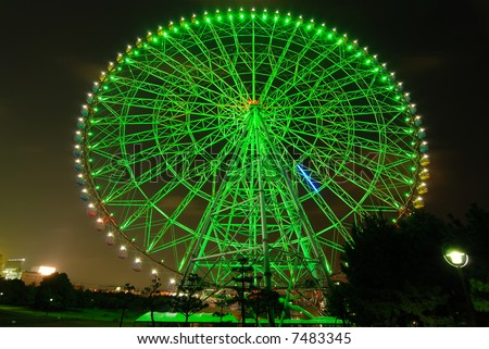 Giant ferrris wheel at night, Tokyo Japan