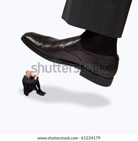 Giant foot about to step on a person
