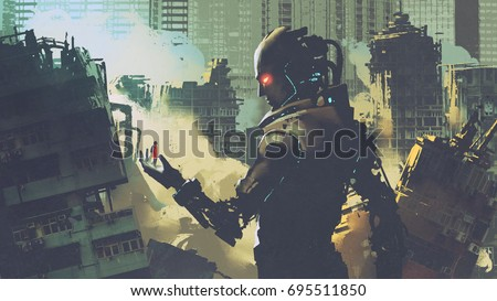 Stock Photo giant futuristic robot looking at woman on its hand in apocalyptic city, digital art style, illustration painting