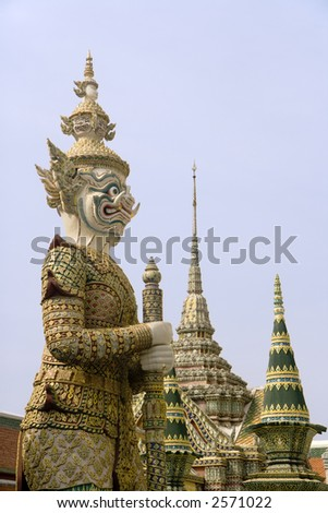 Giant guardian at the Grand Palace complex in Bangkok, Thailand.