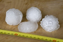 Giant hailstones measuring 5cm across. These fell in Verona, Italy, in May 2013.