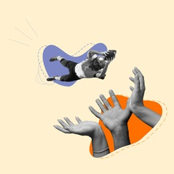 Giant hands catching american football player in flight. Contemporary art collage, modern design. Aesthetic of hands. Trendy pastel colors. Copyspace for your ad or text. Surreal conceptual poster.