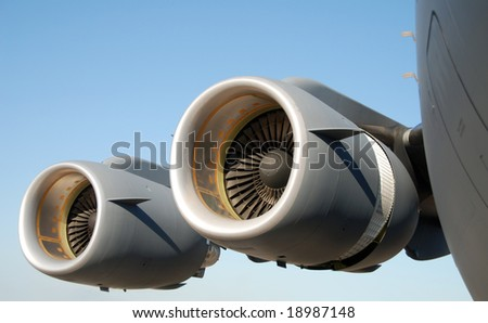 Giant jet engines of modern military transport plane