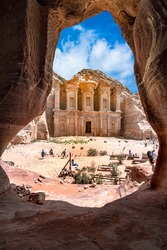 Giant monastery temple in sandstone and columns of the ancient Bedouin city of Petra, Jordan