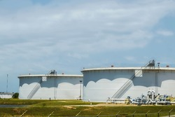 Giant oil storage tanks in Cushing Oklahoma Oil Crossroads of the World where most of the WTI oil in the USA is stored and traded