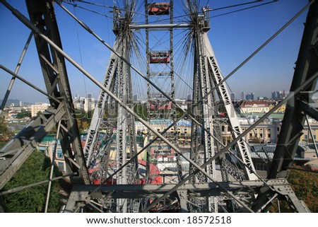 Giant old ferris wheel in Wien, Austria