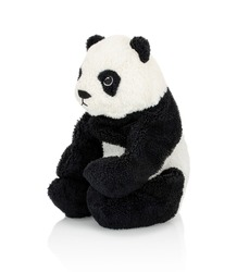 Giant panda plushie doll isolated on white background with shadow reflection. Plush stuffed puppet on white backdrop. Fluffy panda bear toy for children. Cute furry animal plaything for kids.