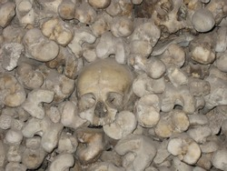 Giant pile of human skull decorations
