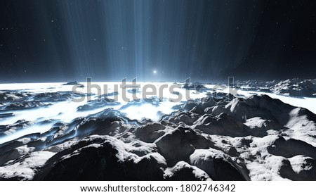 Giant plumes of water vapor erupting from ice-covered moon, huge geysers on icy moon. 3d illustration Stockfoto ©