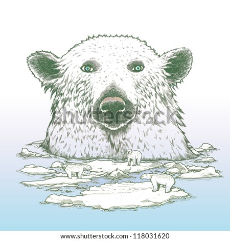 Giant polar bear of arctic