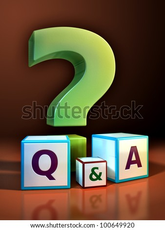 Giant question mark and some cubes with embossed letters. Digital illustration.