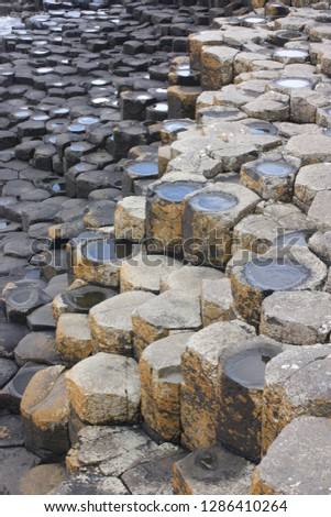 Giant's Causeway, Northern Ireland - May 18th 2018: The volcanic pillars on the Giant's Causeway in Antrim, Northern Ireland #1286410264