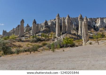 giant sandstone hoodoos in Love Valley (Baglidere Vadisi)  Goreme, Nevsehir province, Turkey