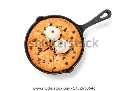 Giant skillet cookie with chocolate chips served with ice cream. isolated on white background Stock photo ©