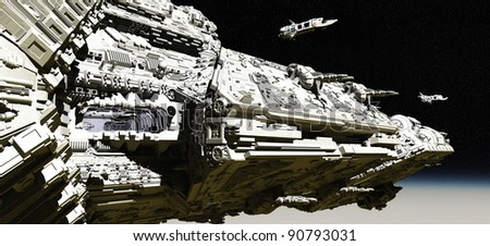 Giant space battle cruiser deploying small scout ships in low orbit over a planet, 3d digitally rendered illustration