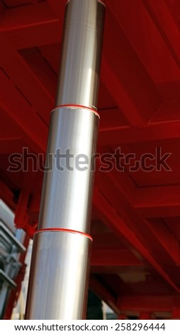 giant stainless steel Hydraulic cylinder below the caisson tipper truck in the yard