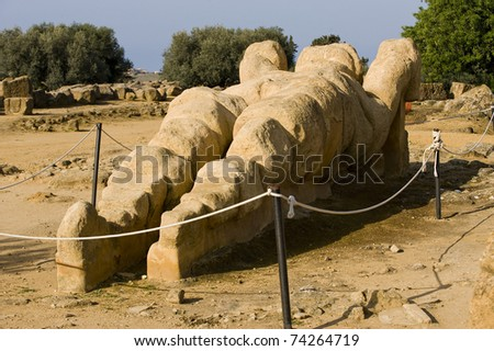 giant statue of talamone from Zeus temple, Agrigento, Sicily, Italy