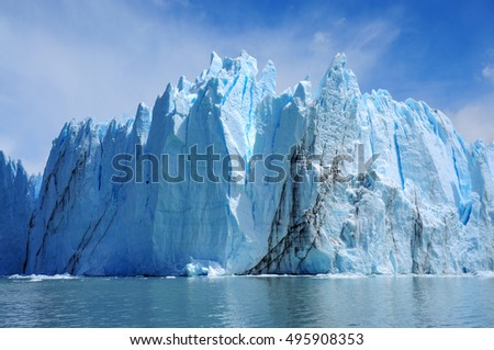 Giant wall of Perito Moreno glacier, the most famous tourist attractions in Patagonia, Argentina. Beautiful landscape of Patagonia. Climate change, global warming, melting glacier