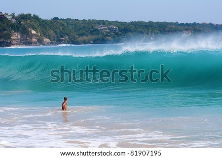 Giant wave coming to the shore. Dreamland beach, Bali, Indonesia