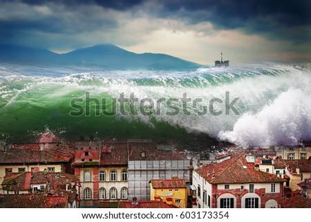 Giant wave crashing above the city. Global flood.