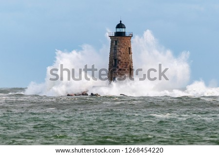 Giant Waves as High as Stone Tower Surround Lighthouse in Maine #1268454220