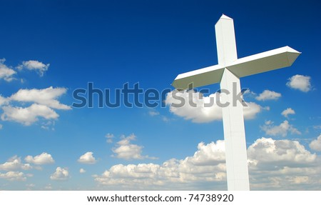 Giant white cross in a sunny day