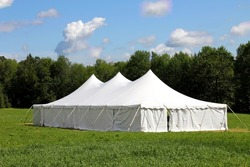 giant white wedding or entertainment tent, marquee