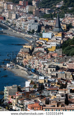 Giardini Naxos in Sicily, Italy, situated on the coast of the Ionian Sea, became a seaside-resort since the 1970s #533331694