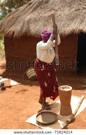 GIBBS FARM, TANZANIA - SEPT. 20:  Unidentified woman pounds grain  using a mortar and pestle outside here sod  home on September 20, 2006 outside Gibbs Farm, Tanzania.