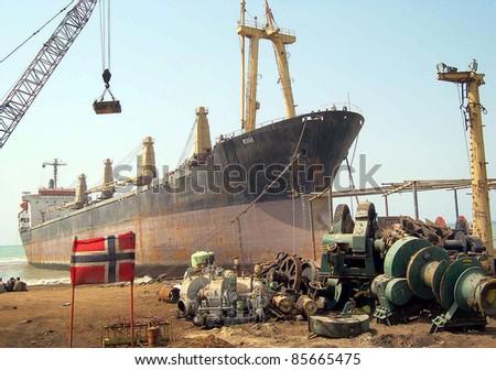 GIDDANI, PAKISTAN, SEPT 29: A big ship MV Rana arrives for breaking at Giddani ship breaking yard on September 29, 2011in Giddani.