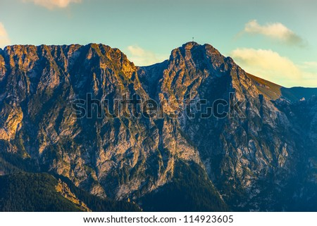 Giewont - Famous mountain in Polish Tatras with a cross on top.