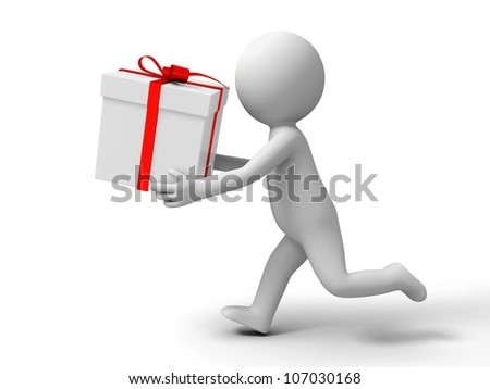 Gift/ a people is running with a gift box