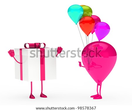 gift and balloon figure on white background
