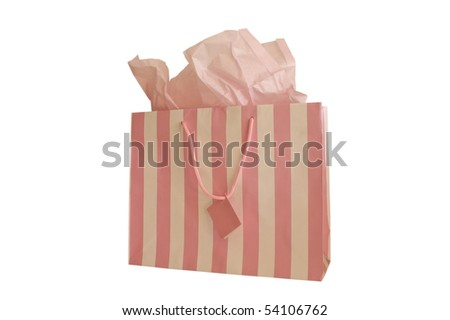 GIFT BAG PINK AND WHITE STRIPED WITH TISSUE