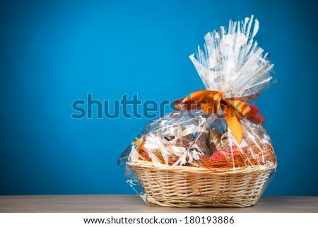 gift basket against blue background Stock photo ©