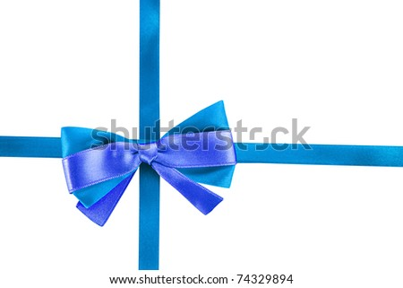 Gift blue ribbon and bow isolated on white background