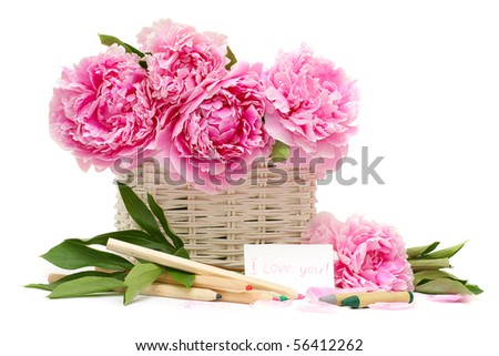 Gift. Bouquet of flowers and a note with a declaration of love isolated on white background - stock photo