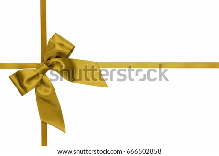 Gift bow, golden satin, with cross ribbons on white background
