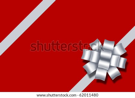 gift bow ribbon red box paper package silver white silk diagonal