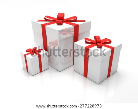 Gift Box A set of three white gift boxes with red ribbon around it Presents for christmas time or valentines day