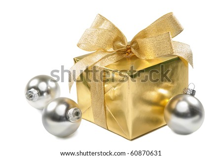 gift box and balls isolated