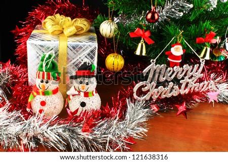 gift box and christmas tree for christmas day
