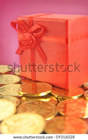 gift box and coin