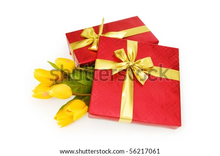 Gift box and flowers isolated on the white background